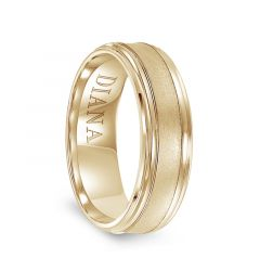 14k Yellow Gold Satin Finished Men's Wedding Ring with Polished Beveled Edges by Diana - 7mm