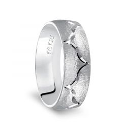 14k White Gold Hammered Finish Men's Wedding Band with Polished Groove Design by Diana - 7mm