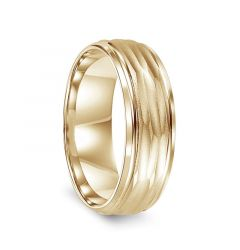 14k Yellow Gold Hammered Finish Men's Wedding Band with Polished Edges by Diana - 7mm
