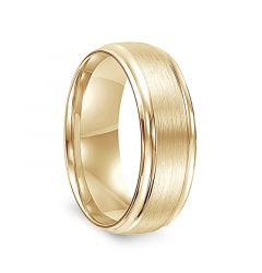 14k Yellow Gold Satin Center Mens Wedding Ring with Polished Edges by Diana - 7.5mm