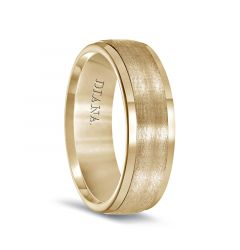 14k Yellow Gold Brushed Center Men's Wedding Band with Polished Edges by Diana - 7mm