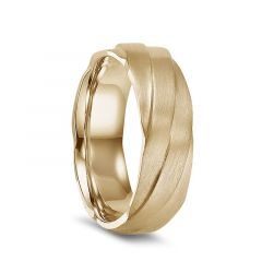 14k Yellow Gold Engraved Swirl Pattern Men's Wedding Ring with Brushed Finish by Diana - 7mm