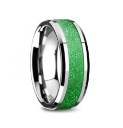 LAWRENCE Tungsten Carbide Bevel Edged Men's Ring with Sparkling Green Inlay - 8mm