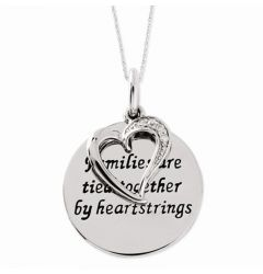 "Antiqued Sterling Silver CZ Heart & ""Families Are Tied Together"" Pendant Necklace"