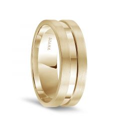 14k Yellow Gold Satin Finished Flat Edges with Polished Center Mens Wedding Band by Diana - 7.5mm