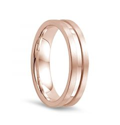 14k Rose Gold Satin Finished Edges Womens Wedding Band with Polished Center by Diana - 5.5mm