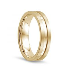 14k Yellow Gold Satin Finished Edges Womens Wedding Band with Polished Center by Diana - 5.5mm