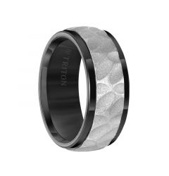 Black Tungsten Two-Tone Sandblasted Hammered Center Men's Wedding Ring with Polished Beveled Edges by Triton Rings - 9mm