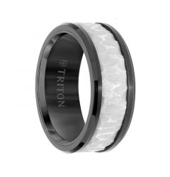 Black Tungsten Two-Tone Polished Beveled Edges Men's Wedding Ring with Sandblasted Textured Center by Triton Rings - 9mm
