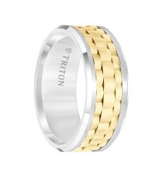 White Tungsten Carbide Men's Wedding Ring with Yellow Basket Weave Center & Polished  Beveled Edges by Triton Rings - 9mm