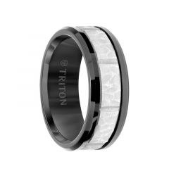 Black Tungsten Sandblasted Hammered Grooved Center Men's Wedding Ring with Polished Beveled Edges by Triton Rings - 9mm