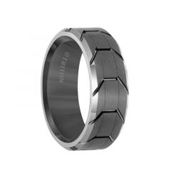 Grey Tungsten Men's Wedding Ring with Grooved Tire Tread Pattern & Polished Beveled Edges by Triton Rings - 8mm