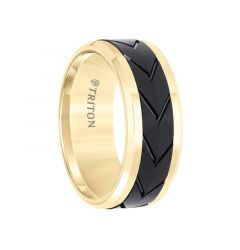 Yellow Tungsten Two-Tone Men's Polished Beveled Wedding Band with Engraved Tire Tread Center by Triton Rings - 9mm