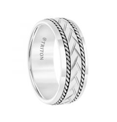 Tungsten Engraved Woven Pattern Polished Edges Men's Wedding Ring with Sterling Silver Rope Accents by Triton Rings - 8mm