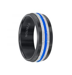 Black Tungsten Vertical Grooved Men's Wedding Band with Electric Blue Stripe Center by Triton Rings - 8.5mm