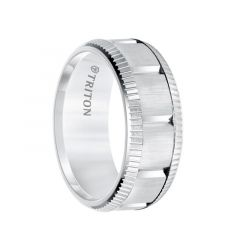 White Tungsten Vertical Grooved Coin Edge Sides Men's Wedding Band with Brushed Finish by Triton Rings - 9mm