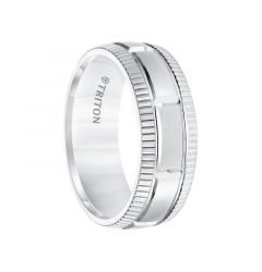 White Tungsten Satin Finished Coin Edge Men's Wedding Band with Grooved Brick Style Center by Triton Rings - 8mm