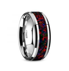 HALLEY Tungsten Carbide Black Opal Inlay Men's Wedding Band with Beveled Edges - 8mm