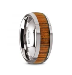 KAMEHA Tungsten Domed Profile Polished Finish Men's Wedding Ring with Koa Wood Inlay - 8mm