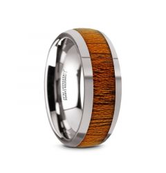 SWIETENIA Tungsten Carbide Mahogany Wood Inlay Men's Domed Wedding Ring with Polished Finish - 8mm