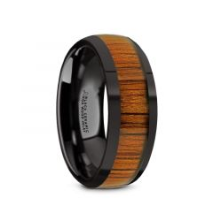 LINDEN Black Ceramic Polished Finish Men's Domed Wedding Band with Koa Wood Inlay - 8mm