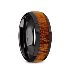MABINI Black Ceramic Mahogany Wood Inlaid Men's Domed Wedding Band with Polished Finish - 8mm
