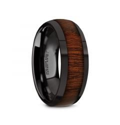 ROSAE Black Ceramic Domed Profile Polished Finish Men's Wedding Band with Rose Wood Inlay - 8mm