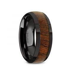 WALLACE Black Ceramic Polished Finish Men's Domed Wedding Band with Black Walnut Inlay - 8mm
