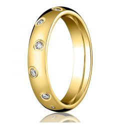Domed 18k Gold Ring with 12 Offset Diamonds by Benchmark - 4mm & 6mm