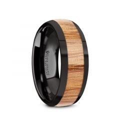 AMBROSE Black Ceramic Polished Edges Men's Domed Wedding Band with Red Oak Wood Inlay - 8mm