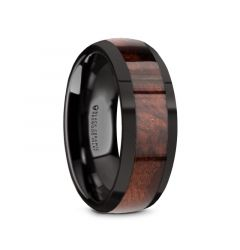 CLARET Black Ceramic Polished Edges Men's Domed Wedding Band with Redwood Inlay - 8mm