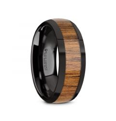 TULIAN Black Ceramic Polished Edges Men's Domed Wedding Band with Teak Wood Inlay - 8mm