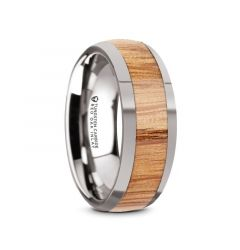 CINDER Men's Polished Edges Domed Tungsten Wedding Band with Red Oak Wood Inlay - 8mm