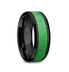 WAIKIKI Black Ceramic Polished Beveled Edges Sparkling Green Inlay Men's Wedding Band - 8mm