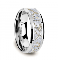 MESOZOIC Men's Tungsten Flat Beveled Wedding Ring with White Dinosaur Bone Inlay - 4mm or 8mm