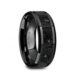 VESUVIUS Men's Polished Black Ceramic Wedding Band with Black & Gray Lava Rock Stone Inlay & Polished Beveled Edges - 8mm