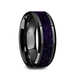 MELO Black Ceramic Beveled Polished Men's Wedding Band with Purple Goldstone Inlay - 8mm