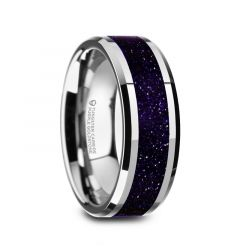 MAKI Men's Beveled Polished Finish Tungsten Wedding Ring with Purple Goldstone Inlay - 8mm
