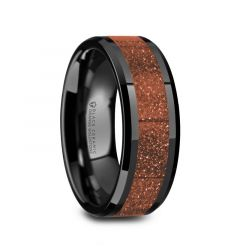 BOLIN Men's Black Ceramic Polished Finish Beveled Edges Wedding Band with Orange Goldstone Inlay - 8mm