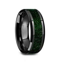 GIOVANNI Men's Polished Finish Black Ceramic Beveled Wedding Band with Green Goldstone Inlay - 8mm