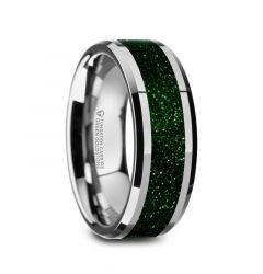 PATRICK Men's Polished Finish Beveled Edges Tungsten Wedding Band with Green Goldstone Inlay - 8mm