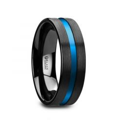 WESTLEY Flat Brushed Finish Black Ceramic Men's Wedding Ring with Blue Grooved Center - 8mm