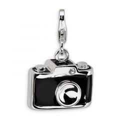 Sterling Silver Enamel Swarovski Element Camera With Lobster Clasp Charm
