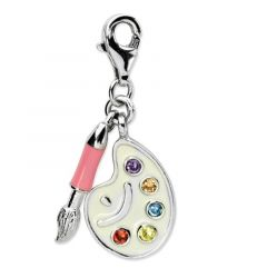 Sterling Silver CZ Enamel Artist Palette With Lobster Clasp Charm