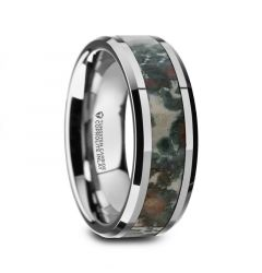 CRETACEOUS Tungsten Carbide Beveled Men's Wedding Band with Coprolite Fossil Inlay - 8mm
