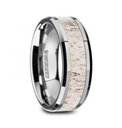 WHITETAIL Polished Beveled Tungsten Carbide Men's Wedding Band with Off-White Deer Antler Inlay - 8mm