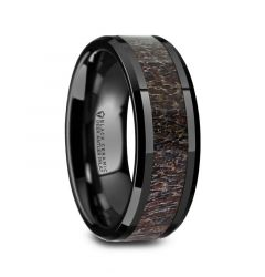 TINE Black Ceramic Polished Beveled Men's Wedding Band with Dark Brown Antler Inlay - 6mm 8mm