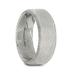TYRELL Damascus Steel Brushed Beveled Men's Wedding Band with Repeating Artisan Pattern - 6mm & 8mm