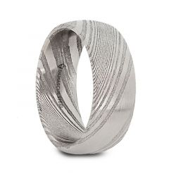 VALYRIAN Domed Brushed Damascus Steel Men's Wedding Band with A Vivid Etched Design- 6mm & 8mm