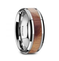 OLLIVANDER Olive Wood Inlaid Tungsten Carbide Ring with Bevels - 8mm